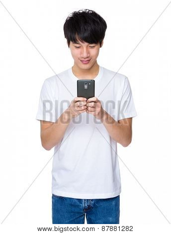 Asian man holding smart phone
