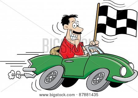 Cartoon man holding a checkered flag.