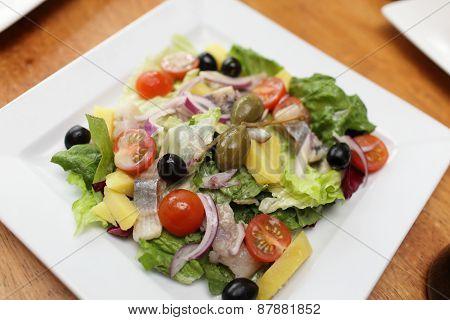 Vegetable Salad With Herring