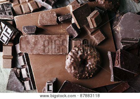Set of chocolate, closeup