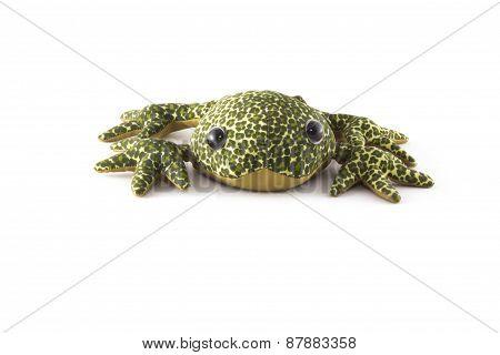 Green plush frog