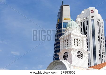Victoria Theatre & Concert Hall Tower Clock At Singapore