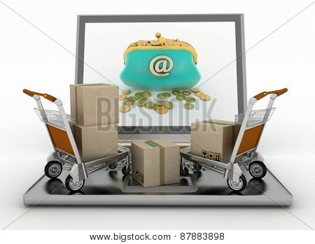 Freight light carts and laptop. The concept of buying commodities on the Internet