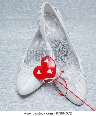 Wedding Shoes With Red Heart