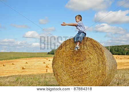 Young Boy Sitting On Haystack