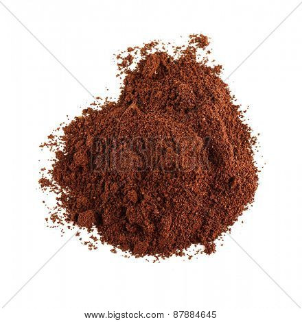 Pile of ground coffee isolated on white
