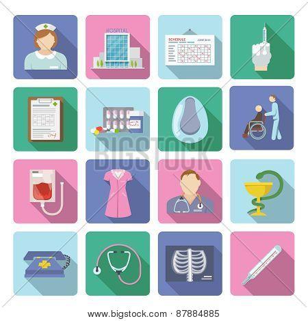 Nurse Icon Flat Set