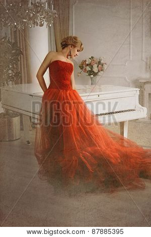 Photo Stylized As Old Picture. Woman And Piano.