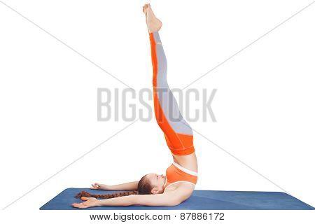Girl Performs Yoga In White Studio
