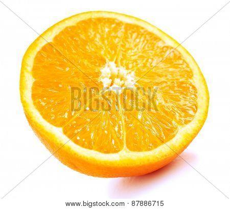 Juicy half of orange isolated on white