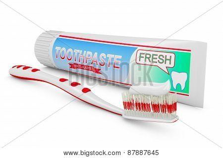 Toothbrush And Tube Of Toothpaste