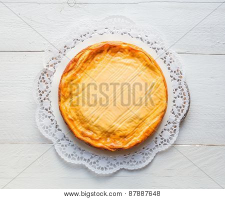 Cheesecake On White Wood With Cake Lace