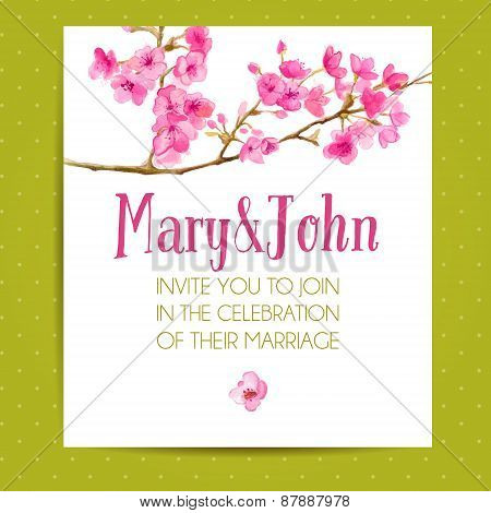 Wedding invitation template with sakura flowers. Vector layout with watercolor floral art.