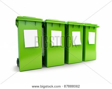 Waste Sorting Four Green Wheeled