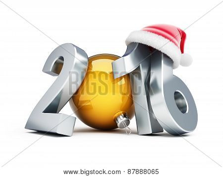 Happy New Year 2016 Santa Hat 3D Illustrations On A White Background