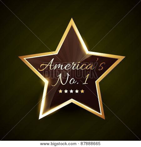 america number one no.1 vector label golden design