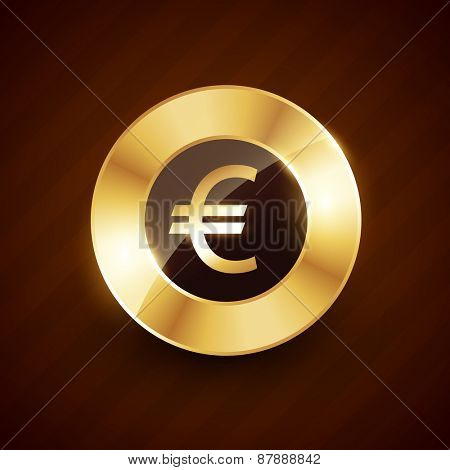 euro golden coin design with shiny effects vector illustration