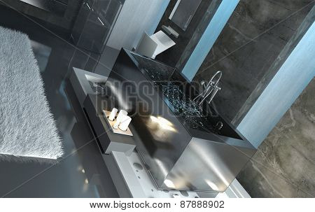 Rectangular Gray Bathtub, Filled with Water, with Lighted Candles on the Side Inside a Contemporary Bathroom Design. 3d Rendering.
