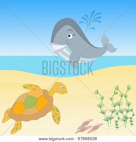 Sea creatures on a beach