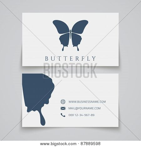 Bussiness card template. Butterfly logo.