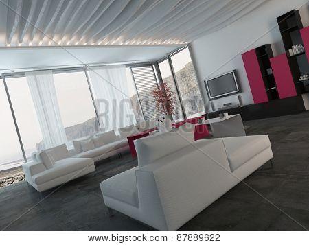 Close up Fully Furnished Elegant Living Room Design with White, Black and Dark Pink Furniture. 3d Rendering.