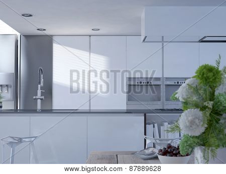 Interior of Clean White Modern Kitchen with Stainless Faucet and Vase of Flowers in Foreground. 3d Rendering.