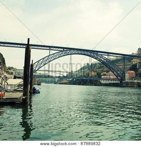 Ribeira, Dom Luis I Bridge And Douro River, Porto(Portugal)