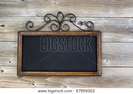 Traditional Empty Chalkboard On Aged Wood
