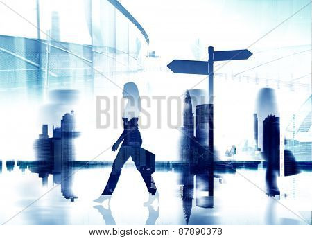 Silhouette Woman The Way Forward Directional Sign Concept
