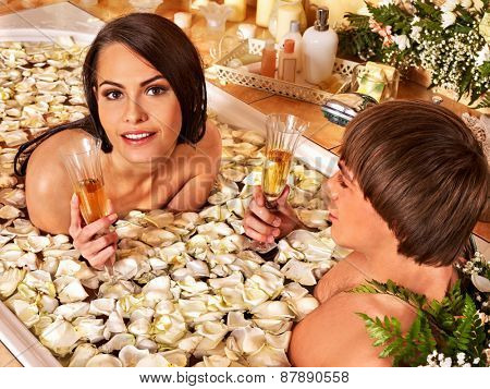 Couple relax  at luxury spa with flower.