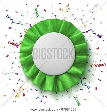 Blank, realistic green fabric award ribbon.