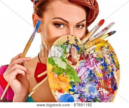 Face of artist woman with paint palette. Isolated.