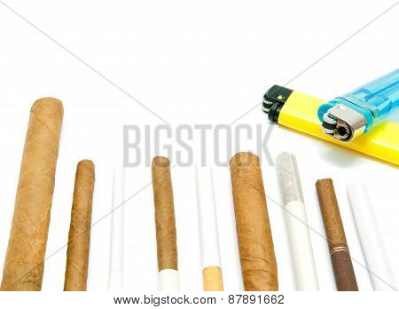 Cigars And Lighters On White