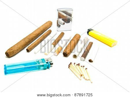 Various Cigarettes, Matches And Lighters