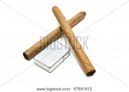 Cuban Cigars And Lighter