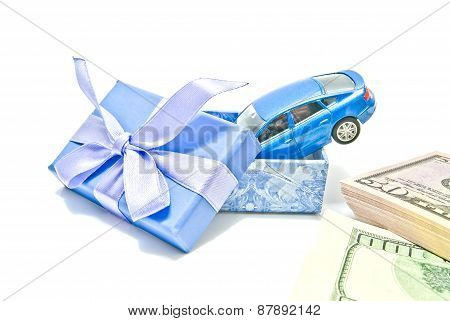 Gift Box, Blue Car And Money