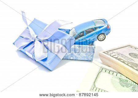 Gift Box With Blue Car And Money