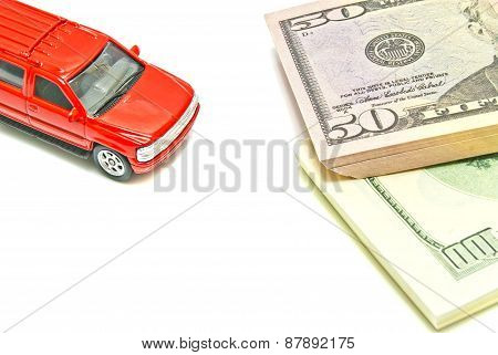 Dollar Notes And Red Car