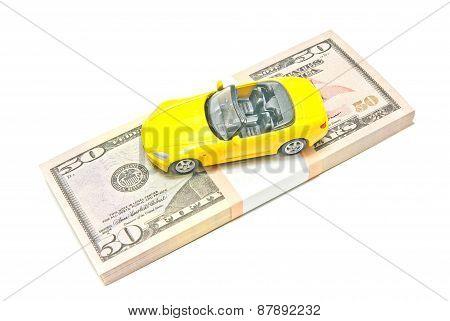 Yellow Car On Dollar Notes