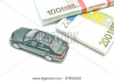 Euro Notes And Black Car