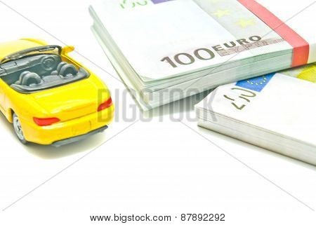 Yellow Car On Euro Notes