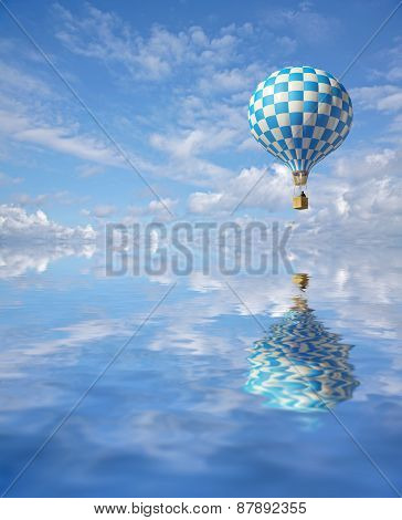3D Balloon In The Blue Sky And Reflection In Water