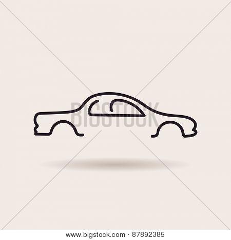 Car logos. Contour line silhouette. vector icon