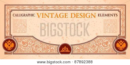 vector frame certificate or coupon template design elements. vintage calligraphic label