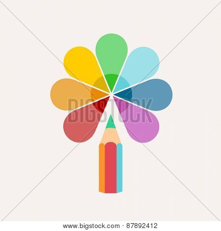 Pencil. Vector logo, colored paint and icons