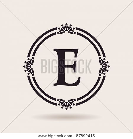 Vector frames design templates. Vintage labels and badges for logos. Alphabet letter E