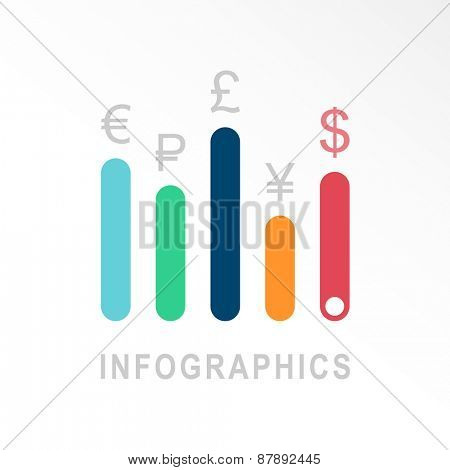 Infographic vector icon. Business emblem template, charts, graphs, presentation, web design, currency