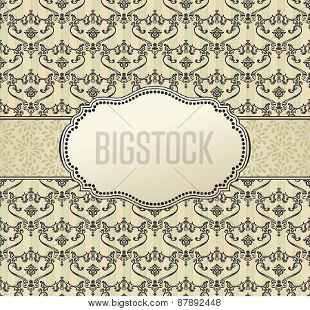 invitation art vector frame package label vintage with retro abstract seamless background