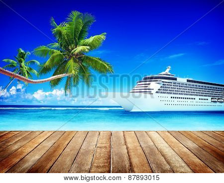 Summer Seascape Skyline Cruise Sea Route Destination Concept