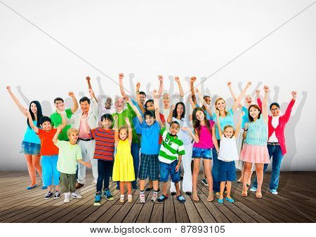 Community Togetherness Children Multiethnic Cheerful Happiness Concept